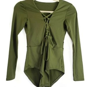 Olive green lace up bodysuit size small